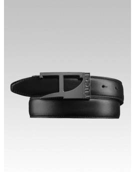 Leather Men BELT Tucci with dark metal buckle